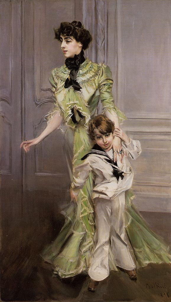 Portrait of Madame Georges Hugo nee Pauleen Menard Dozian and Her Son Jean
